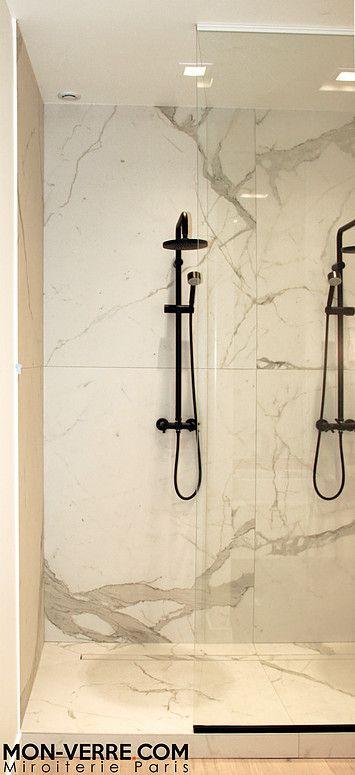 Fabrication et pose de paroi de douche sur mesure en verre, mon-verre conçoit et réalise votre pare douche. Vitre de douche sur mesure Verre anti calcaire.