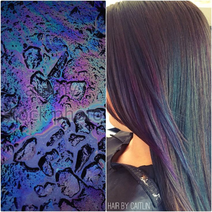 Oil slick hair color. Subtle oil slick.