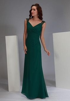 Floor Length Queen Anne Chiffon & Lace Sheath/ Column Sleeveless Asymmetric Waist Bridesmaid Dress - Angeldress.co.uk