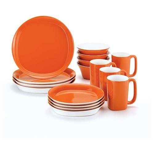 Rachael Ray 16-piece Round and Square Orange Dinnerware Set