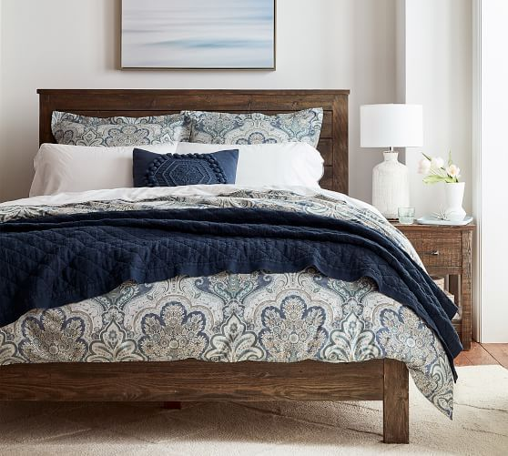 Jessie Scroll Organic Percale Patterned Duvet Cover Sham Pottery Barn Duvet Cover Master Bedroom Blue Master Bedroom Bedding Master Bedroom
