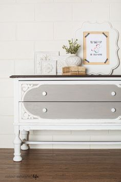 Colour Saturated Life | Painted Dresser Before & After using Miss Mustard Seed Milk Paint in Schloss & Ironstone