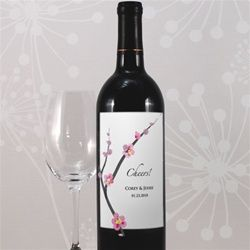Cherry Blossom Personalized Wine Bottle Label