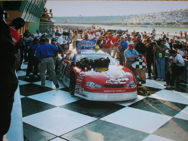 Joe Nemechek...winner of the Nascar Busch Race in Victory Lane at Homestead Track....Nov 10, 2001
