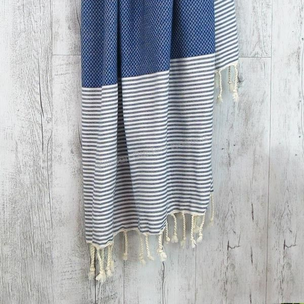 Freshwater Turkish Towel - Sailor Blue & White - Turkish Towels - Turkish Towels - Outdoor Products