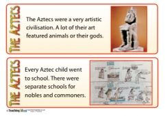 Did you know that the Aztecs didn't call themselves Aztecs? They referred to themselves as Mexica! Learn this and nineteen other interesting facts about the Aztecs with our free printable fact cards.