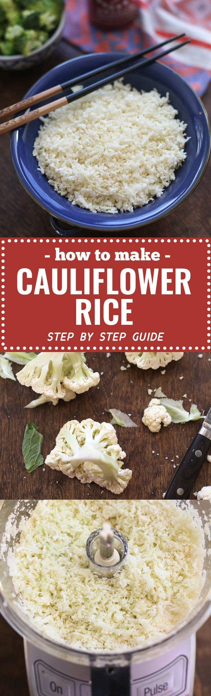 Cauliflower rice is super versatile - a low-carb, gluten-free, paleo and vegan -friendly substitute for rice that is also totally delicious. This is a step by step guide how to make cauliflower rice at home with pictures and instructions on how to freeze. We serve it with stir-frys, turn it into fried rice, and keep it in the freezer as a quick, healthy side dish.