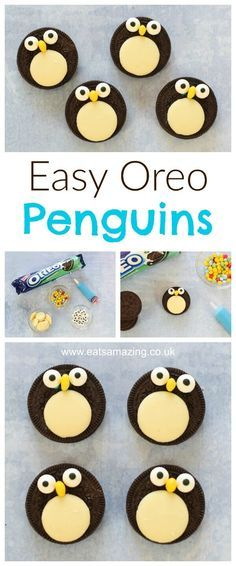 Quick and easy oreo penguins recipe - a fun snack treat or dessert topper for christmas - fun food for kids from Eats Amazing UK #Christmas #christmasfood #funfood #foodart #kidsfood #oreo #penguin #tutorial #winter #cookieart #cookiedecorating