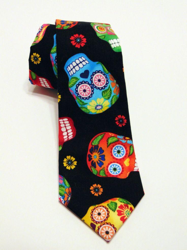 Candy Skull Necktie, Candy Skull Tie, Sugar Skull Necktie, Sugar Skull Tie, Skull Necktie, Skull Tie, Mens Necktie, Mens Tie, Gothic, Goth by EdsNeckties on Etsy