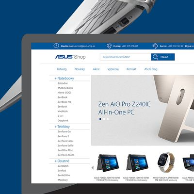 Webdesign pre internetový obchod s notebookmi ASUS