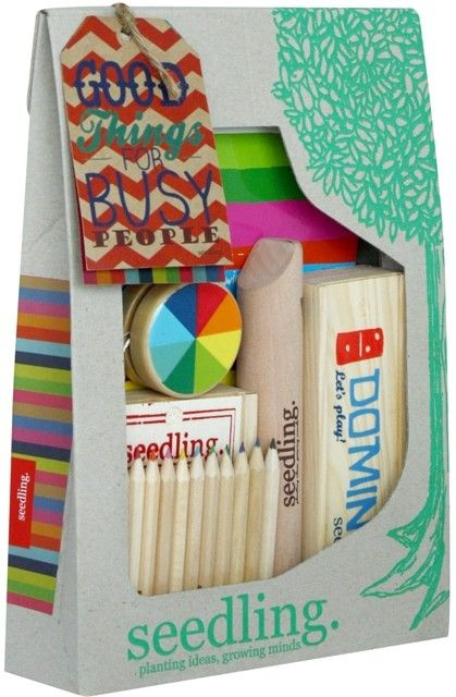If you're not busy already, you will be with Seedling's fabulous kit packed full of fun and games. With most elements made from wood in a lovely traditional style, this attractive set contains a yoyo, playing cards, wooden slide whistle, dominoes, A4 drawing book and a set of colour pencils. Lots to keep hands and minds busy! #Seedling #craft #Christmastoys