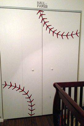 Custom baseball stitches decal. Sports decor. https://www.etsy.com/listing/91980607/nursery-baseball-decal-baseball-decor?ref=shop_home_feat