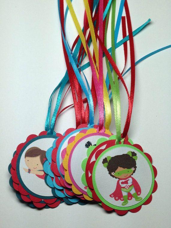 Personalized Girl Superhero Favor Tags, Superhero Birthday Party, Girl Super Hero Party,