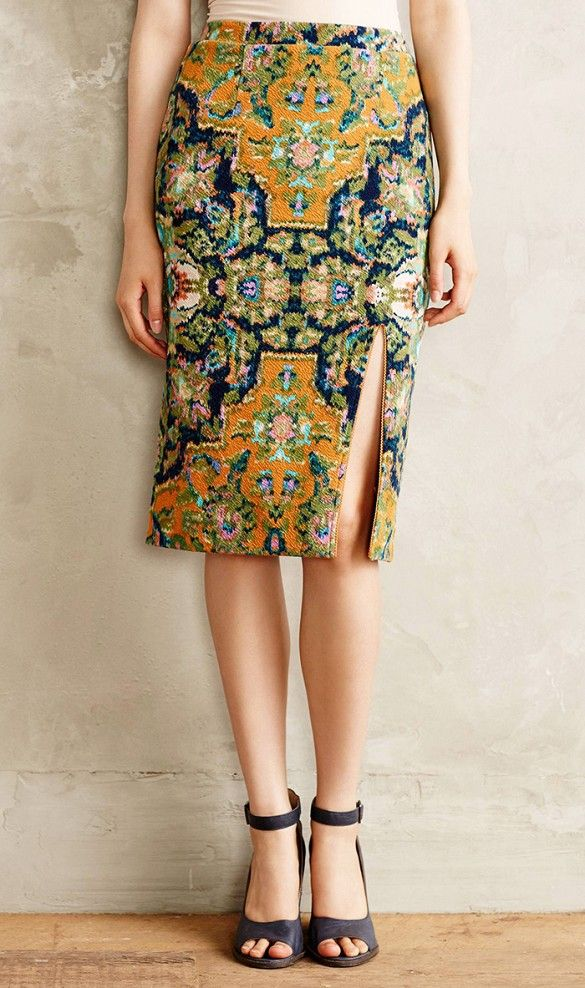 Tapestry Pencil Skirt #Anthropologie A pencil skirt accentuates your curves and smoothes out your thighs.
