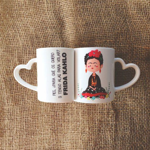 Hey, I found this really awesome Etsy listing at https://www.etsy.com/listing/208214011/frida-kahlo-mug-set-with-heart-shaped