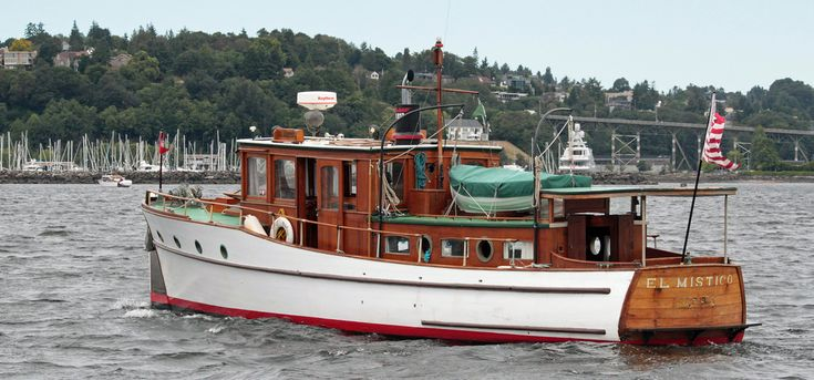"""EL MISTICO was on the leading edge of technology when she was built in Ballard in 1927. According to an article in Power Boat Magazine, """"The application of the low-powered oil engine to the propulsion of medium sized yachts and workboats is a comparatively new thing"""". The Classic Yacht Association is dedicated to the promotion, preservation, restoration and maintenance of fine, old, power-driven pleasure craft. www.classicyacht.org"""