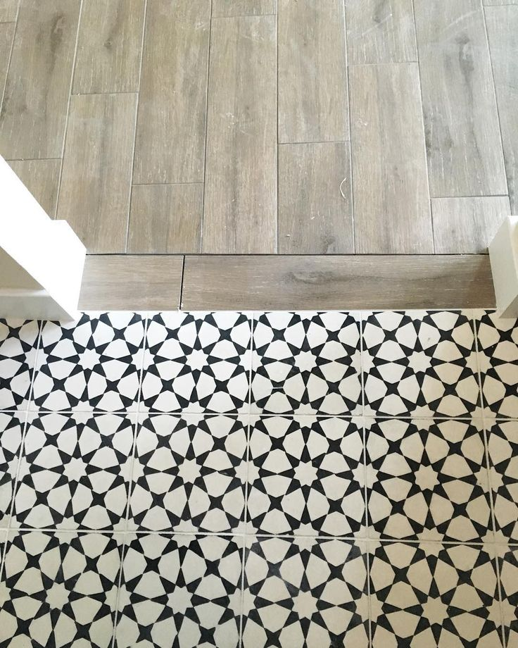 Vanessa Matsalla #Wood to #Cement Tile transition. Love this transition with the black and white tile. www.ellesvision.com  #JAX