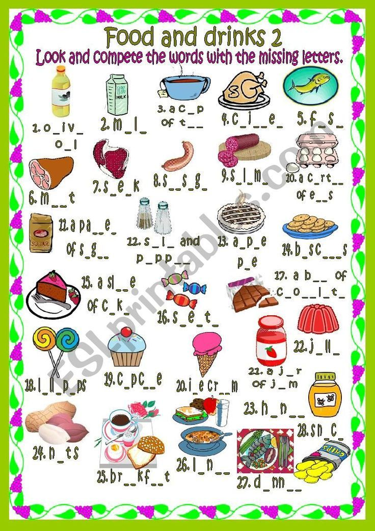 Look and write the missing letters. Food Spelling