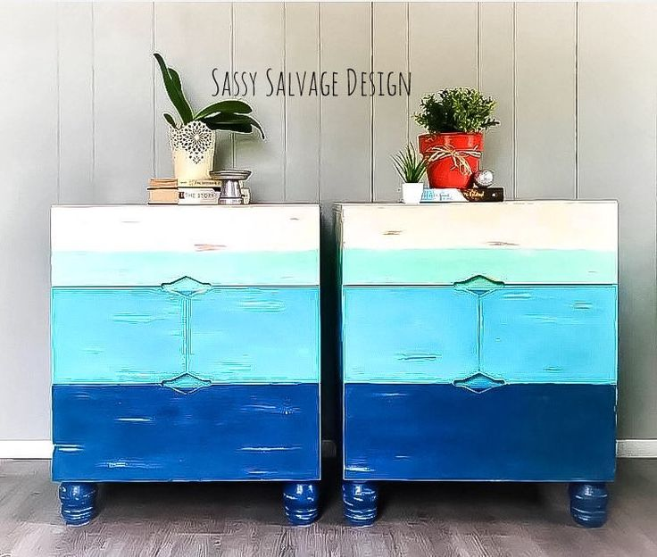 Nautical Painted Coastal Blue Nightstands
