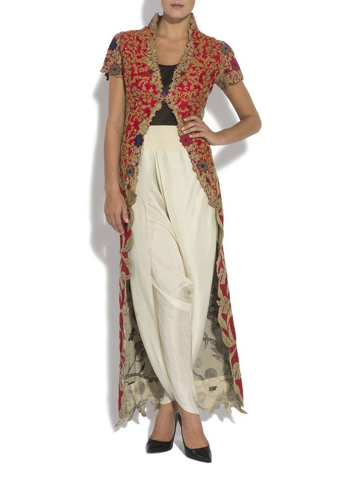 ANAMIKA KHANNA Red tree of life jacket Dhoti Pants