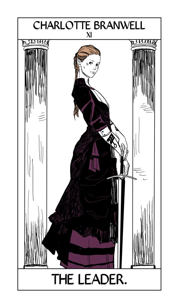 Charlotte Branwell's Tarot card by Cassandra Jean. Charlotte, The Leader, takes the Justice card.