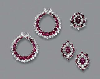 A RUBY AND DIAMOND SUITE OF JEWELLERY, BY DAVID MORRIS