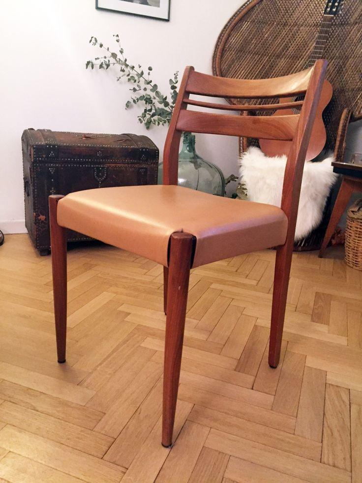 Chaise vintage scandinave en bois et ska ann es 70 for Chaise annee 70 occasion
