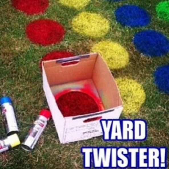 Outdoor twister but with glow paint for after dark.