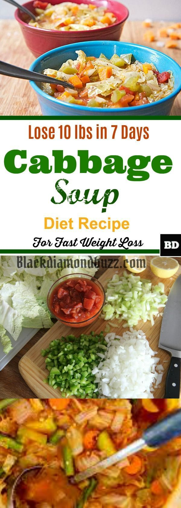 Best Cabbage Soup Diet Recipe for Weight Loss- Lose 10 Pounds In 7 Days.  Cabbage Soup Diet Recipe for Weight Loss  Preparing the cabbage soup diet is pretty easy and straightforward. It takes just about 15 minutes to serve. Follow the cabbage soup diet recipe for weight loss instructions below;   Ingredients for Cabbage Soup Diet   ½ head of Cabbage, chopped into small pieces  ½ Onion 2 sliced Mushrooms (optional)  1 diced celery of Celery  ½ sliced Carrot 2 small or 1 large Tomato  3 or 4