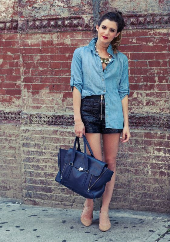 love this, denim + leather: Leather Shorts, Statement Necklaces, Fashion Style, Leather Skirts, Chambray Shirts, Latest Fashion, Personalized Style, Style Blog, Cities Fashion