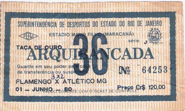 O ingresso do espetáculo de 1º de junho de 1980. Jogo inesquecível entre Flamengo & Atlético MG, na finalíssima do Brasileirão 1980. Eu estava lá, era tanta gente que quando o Fla fazia um gol sobrava cotovelada, empurrão, safanões, e abraços. Sem dúvida, uma das tardes/noites de alegria mais absoluta em minha vida.