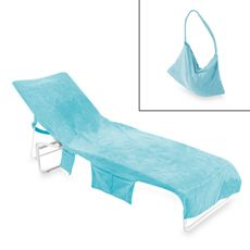 Chaise lounge cover attaches to lounge chair easily with ties, and the six pockets in total on both sides keep your things in easy reach. There's even a MP3 pocket and head phone loops. Also features a hidden zipper pocket at the bottom and foot protector. Cover transforms easily into a convenient tote bag. Includes pillow. 100% velour cotton.