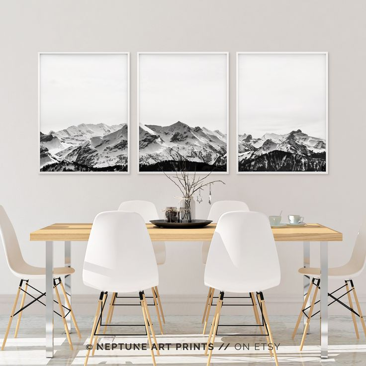Set of 3 Snow Mountain Printable, Black and White Mountain Print, Wall Art, 3 Piece Poster, Minimalist, Modern Landscape Home Decor, Digital    Printable art is an easy and affordable way to personalize your home or office. You can print from home, your local print shop, or upload the files to an online printing service and have your prints delivered to your door!    For more minimalistic printable art, check out our home page and view our extensive range…