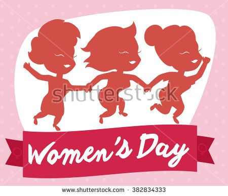 Three friendly girls celebrating Women's Day with a fuchsia commemorative ribbon