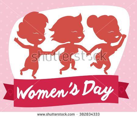 Three friendly girls celebrating Women's Day with a fuchsia commemorative ribbon
