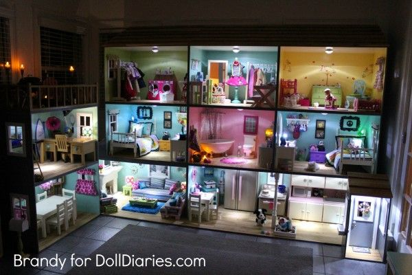 Light Up Your Dollhouse! How to add lighting to your doll house for American Girl dolls.