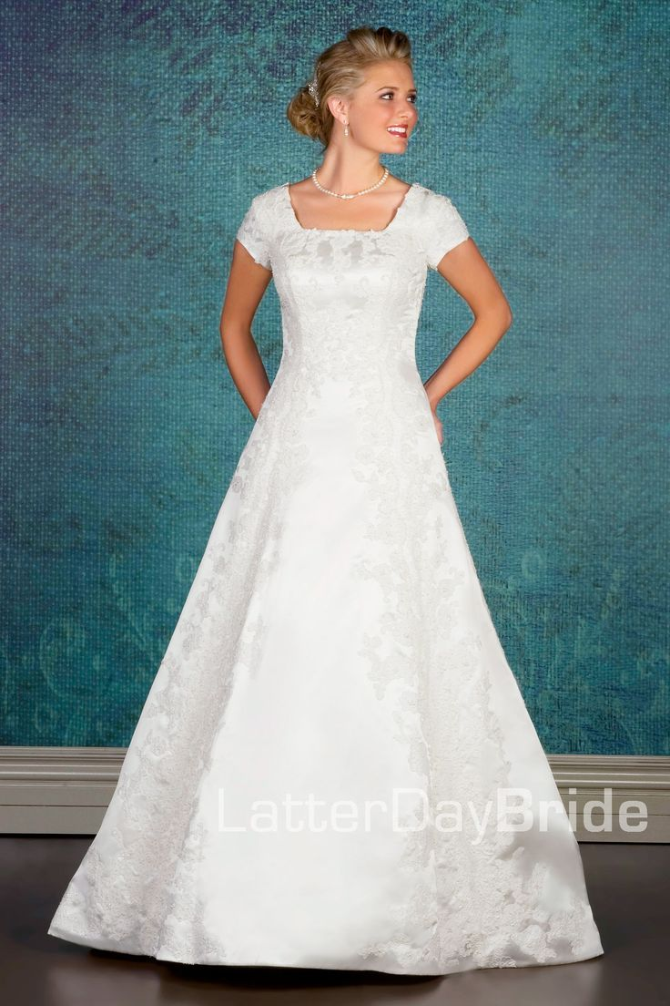 Modest wedding dress satoshi latterdaybride prom for Mormon temple wedding dresses