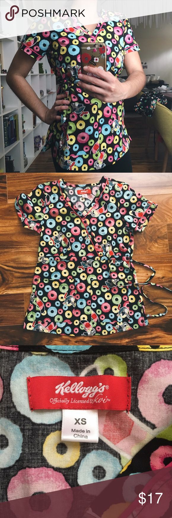 Fruit Loop scrub top Fruit Loop print scrub top by Koi. Barely worn. No flaws❌NO TRADES❌reasonable offers considered • only accepted through the offer button❌ Koi Tops
