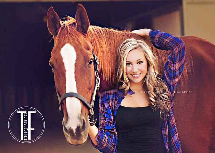 Fun and unique pose for senior girl with horse