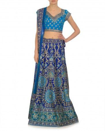 Embellished Royal Blue and Turquoise Lehenga by Ritu Kumar