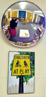 Safety Mirror above the building platform in the block area so the children can get a different perspective of their creations.  art and soul preschool