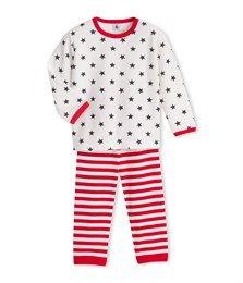 Pyjama garçon en velours imprimé / rayé blanc Ecume / gris Mistigri - Petit Bateau