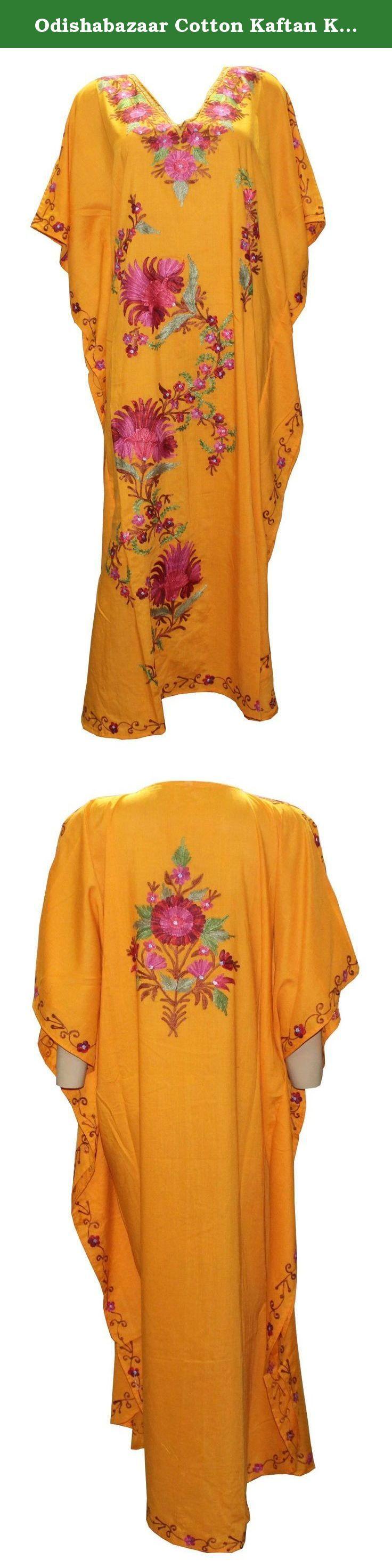Odishabazaar Cotton Kaftan Kashmiri Embroidered Maxi Long Dress for Women (multi-9). Long length Kashmiri Kaftan/lounge wear/beach wear/ maxi dress with Ari Embroidered Flowers.