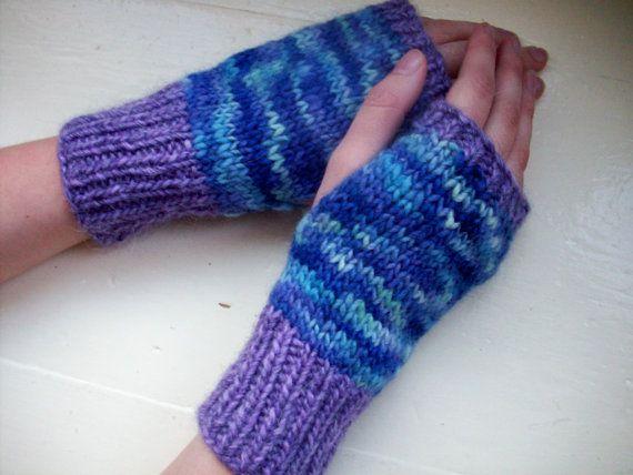 Hand warmers merino fingerless gloves purple by SpinningStreak, $20.00