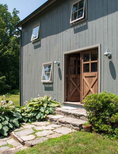 """""""Walking across the driveway about 100 feet will lead you to my studio. The interior beams in the barn were taken from a house built in the 1790s. The barn was built ten years ago and I am so lucky to have such a beautiful place to work every day."""""""