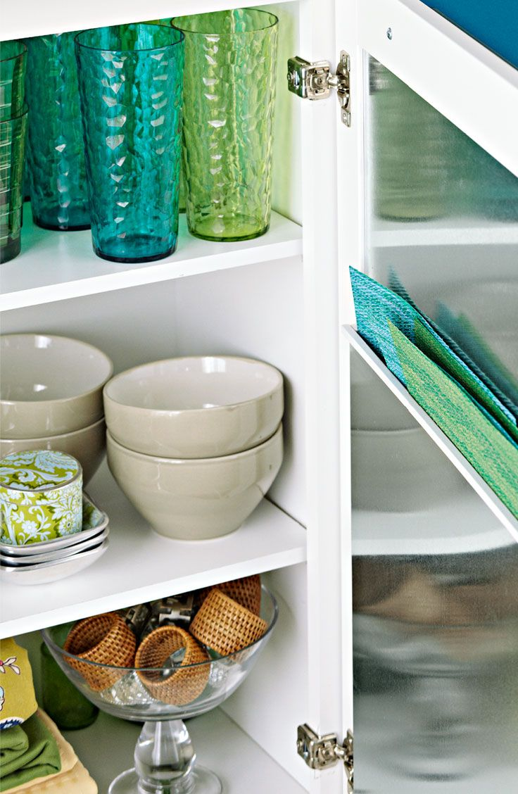 Make A Placemat Organizer Inside Your Cabinet Door