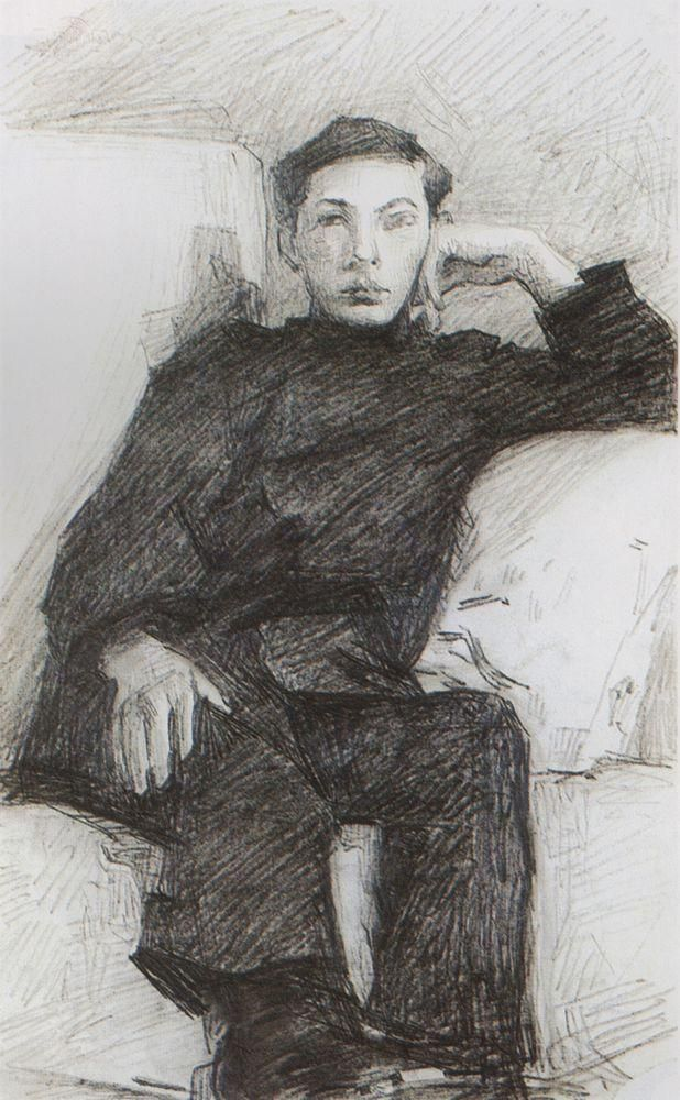 Portrait of a young man - Mikhail Vrubel
