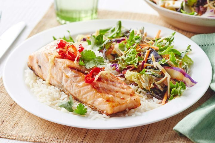 Seared salmon with sweet ginger glaze
