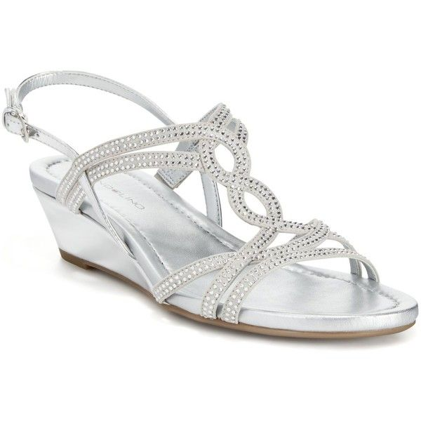 Bandolino Gilnora Embellished Wedge Sandals ($69) ❤ liked on Polyvore featuring shoes, sandals, silver, silver wedge shoes, strap sandals, silver wedge sandals, strappy wedge sandals and silver embellished sandals