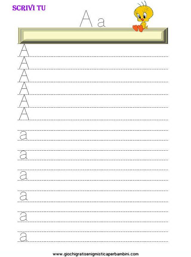 01_grafia_lettera_a Schede didattiche impara a scrivere le lettere
